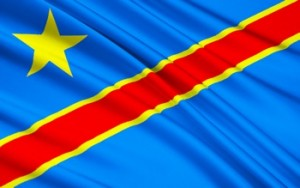 The national Flag of the Democratic Republic of the Congo (Congo-Kinshasa, DROC) - adopted on 20th February 2006. (Not to be confused with the neighbouring Republic of the Congo)