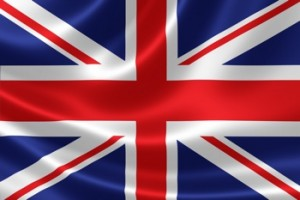3D rendition of the UK flag on satin textile texture.